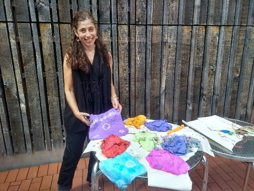 Annabel with cotton and coloured dyes