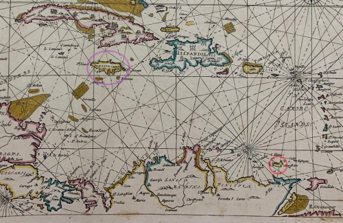 Detail of a large and colourful seventeenth-century map of the Caribbean Sea. Jamaica is circled in purple; Margarita is circled in red.