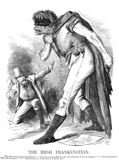 An image of anti-Irish propaganda, featuring an Irish Frankenstein figure