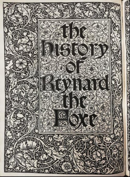 Frontispiece to The History of Reynard the Foxe, with the title and floral borders
