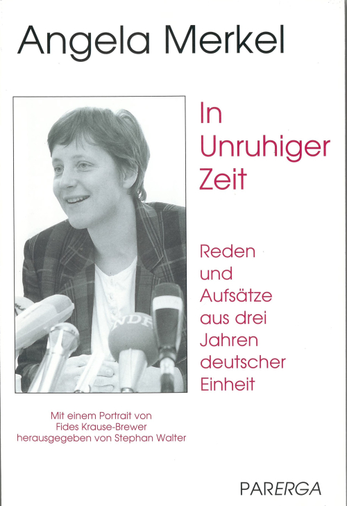 Book cover with a photo of Angela Merkel at a press conference
