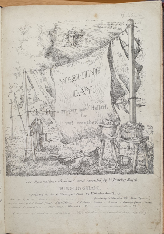Title page of W. Hawkes Smith's Washing Day: a proper new Ballad for wet weather