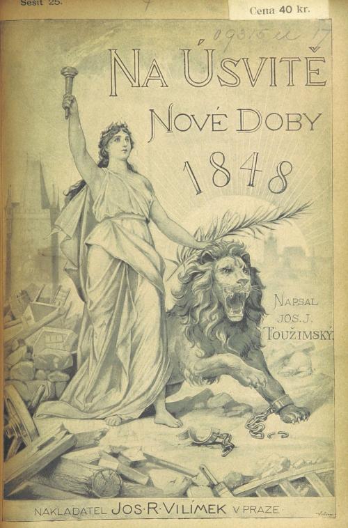 Cover of Na úsvitě nové doby with a 'Liberty' figure and lion