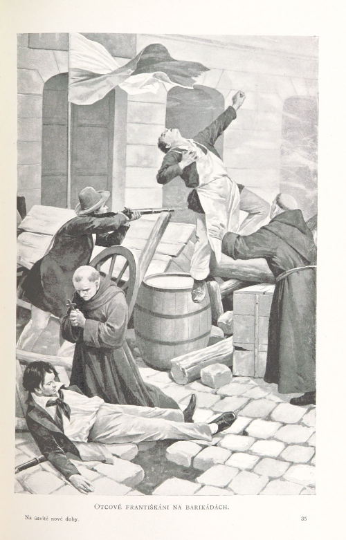 Fathers Franciscans on the barricades.