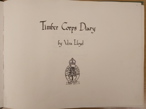 Opening page of diary showing Timber Corps logo