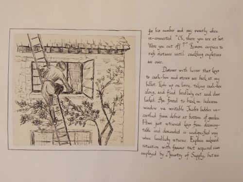 Diary entry with a sketch showing Vera entering the upstairs window of the house via a ladder