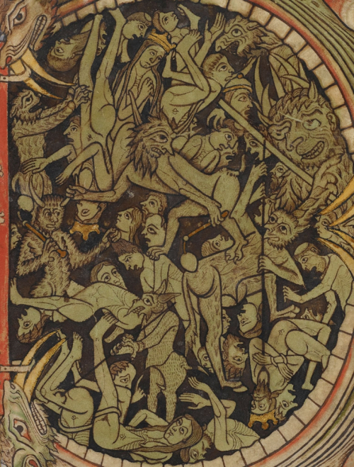 A detail from the Winchester Psalter, showing a crowd of sinners swallowed by the Mouth of Hell during the Last Judgement.