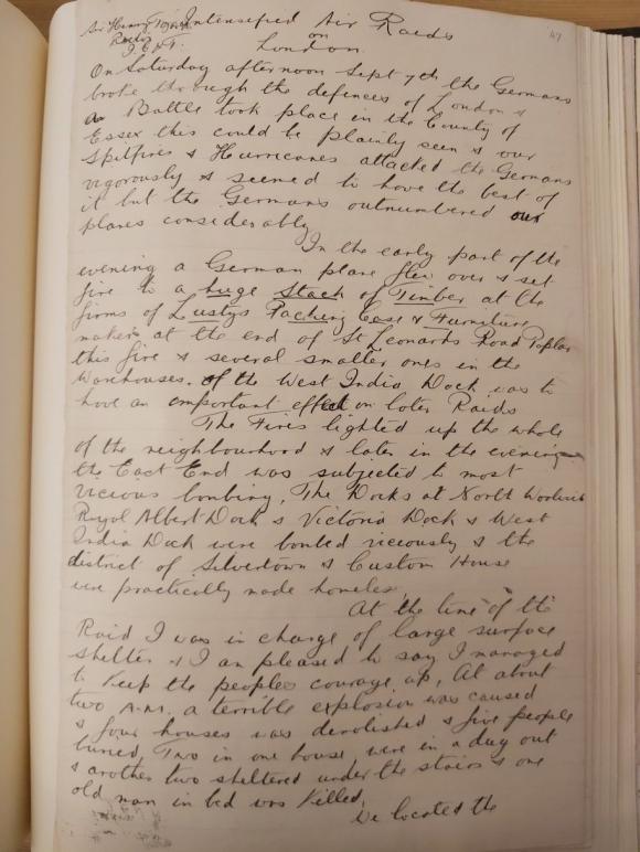 An account of air raids by William Carpenter  Chief Air-raid Warden of Poplar September1940