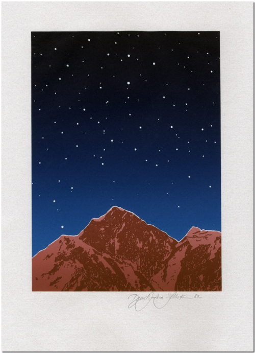 An image of an orange/brown toned mountain thrown into sharp relief by a starry blue sky. The image is signed by its artist: Daniel Goldstein.