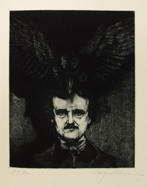 A dark and brooding image of Edgar Allan Poe. His black hair looks unkempt and he wears a high-neck collar and a dark jacket or coat.