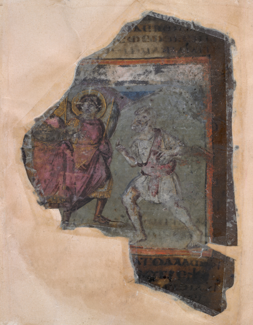 A burnt fragment from the Cotton Genesis, featuring an illustration of Abraham receiving three angels.