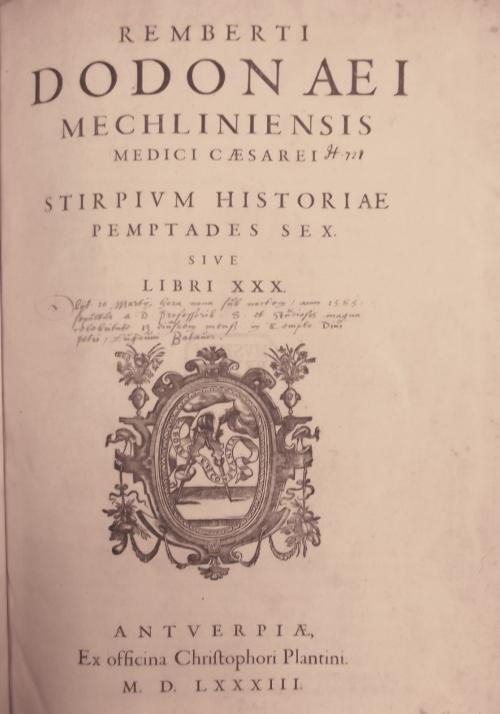 Title page of Stirpium historiæ pemptades sex, sive libri XXX
