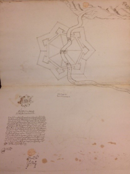 Map of fort signed by Giovanni Battista Vitelli