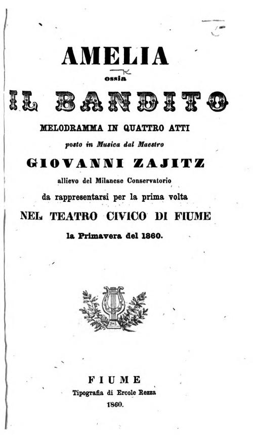 Title page of 'Amelia, ossia Il Bandito'