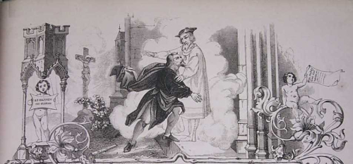 Allegorical image of Gutenberg and a spirit