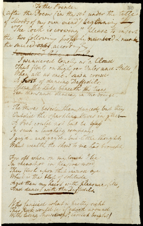 'I wandered lonely as a cloud' the original manuscript sent by Wordsworth to the printer for his Poems, in Two Volumes, 1807. The British Library, Add MS 47864. © Dove Cottage - Wordsworth Trust. Open in new tab to continue listening whilst browsing.