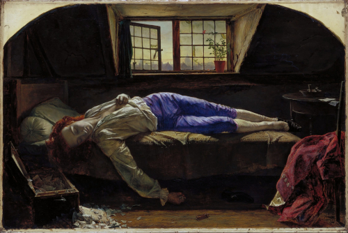 Painting: 'The Death of Chatterton' by Henry Wallis (Tate Britain, London) dated The Death of Chatterton, 1856, by Henry Wallis 1856