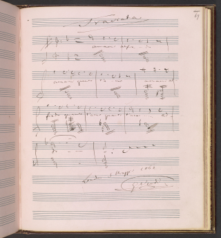 Musical quotation from 'Amami Alfredo' from Verdi's opera La traviata in the composer's autograph