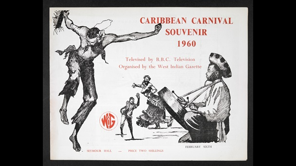 "Image of black, white and red illustrated cover. It shows drawings depicting Caribbean dancers. Title reads: ""Caribbean Carnival Souvenir, 1960: televised by BBC television. Organised by the West India Gazette."