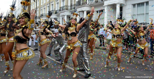 Paraiso School of Samba dancers at the Notting Hill Carnival 2017, © Vinko Kalčić Photography, reproduced with permission. Image shows dancers of the Paraíso School of Samba in traditional Brazilian Carnival wear.