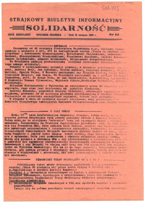 Strajkowy Biuletyn Informacyjny Solidarność, issue no. 13