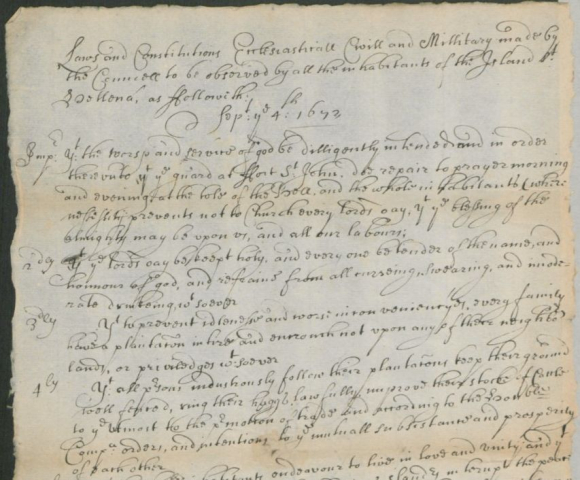Document showing extract from St Helena laws 1672