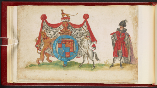 A page from an Early Modern friendship album, featuring a painted portrait of Prince Charles alongside his coat of arms.