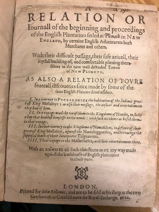 Title page of 'Relation or Journal of the Beginning and Proceedings of the English Plantation Settled at Plimouth'  1622