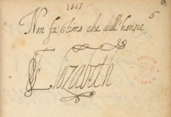 Autograph of Elizabeth, Queen of Bohemia.