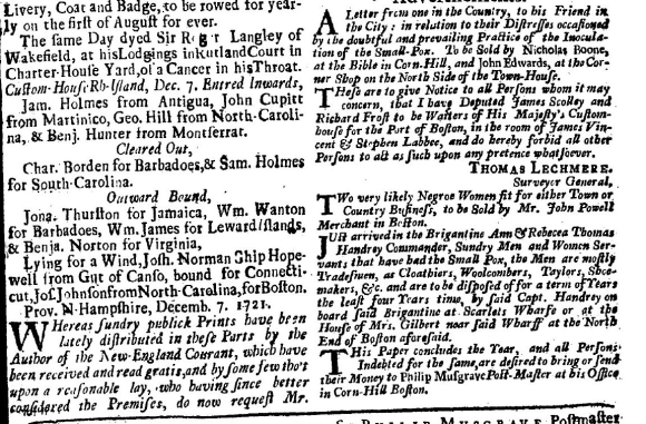 Extract from Boston Gazette with news of inward and outward bound ships and an advertisement for the sale of two women slaves