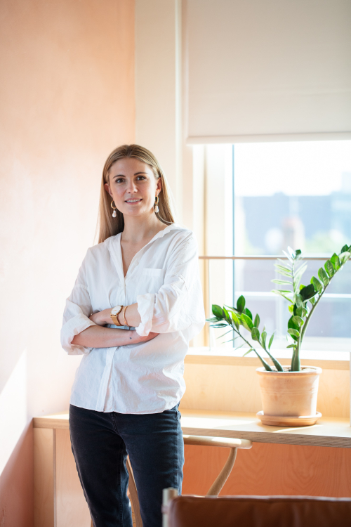 Amanda Overs, founder of I Can Make Shoes in her office