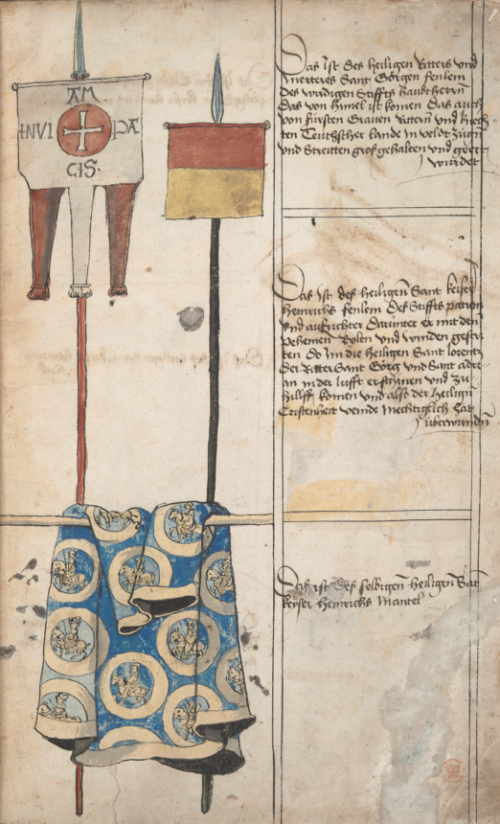 The banners of St George and Henry II. The latter's banner, on the right, features a flag with red and yellow. Below is a blue mantle with gold embroidery, representing the Star Mantle