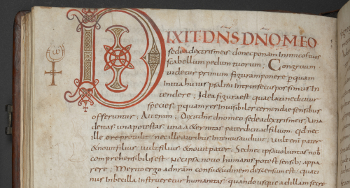 Detail of the top of a manuscript page with a initial D in red and brown ink.