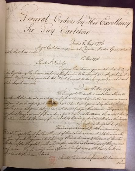 A manuscript record of some of the orders issued by Sir Guy Carleton during the American War of Independence