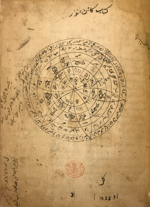 A manuscript page with a series of concentric circles subdivided by arcs and filled with Arabic letters and esoteric symbols in black ink