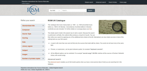 Image of the RISM UK catalogue homepage