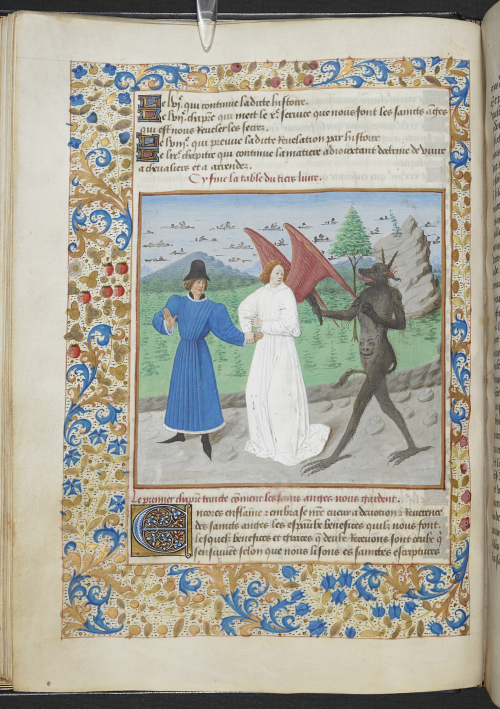 Illuminated manuscript with an picture of a guardian angel guiding a man away from the devil