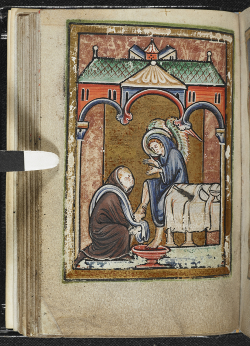 Cuthbert washes the feet of an angel in disguise