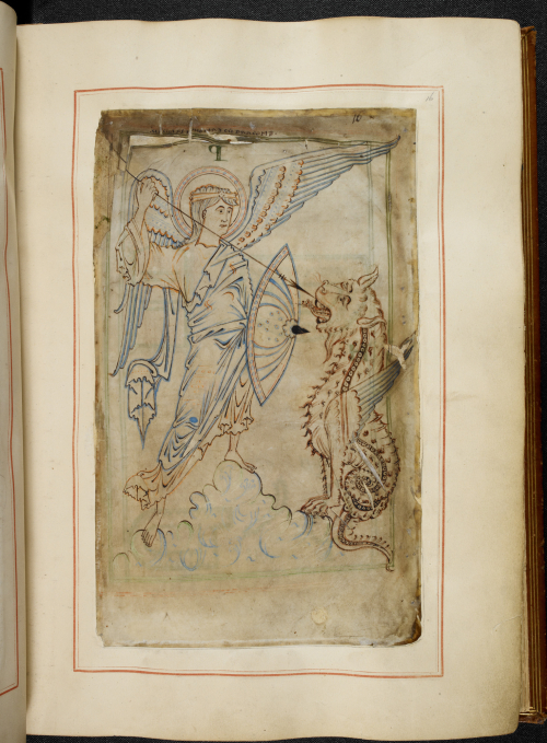 St Michael defeats the devil in the Tiberius Psalter