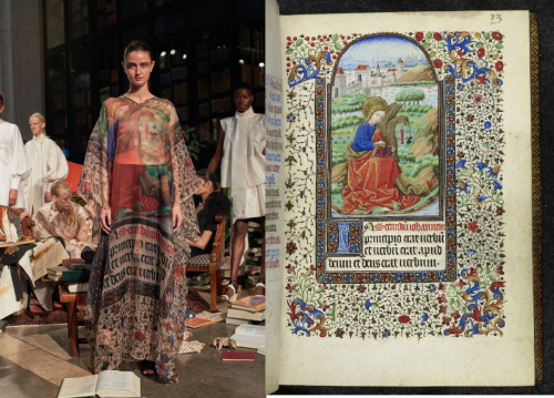 A woman wearing a garment based on illumination from a book of hours