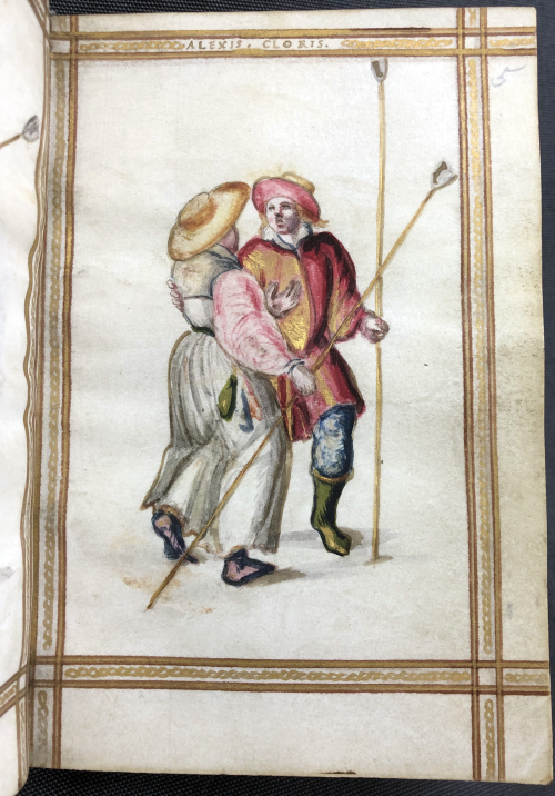 A page from a 16th-century autograph manuscript of Papon's Pastorelle, featuring a painted portrait of two shepherds, called Alexis and Cloris.