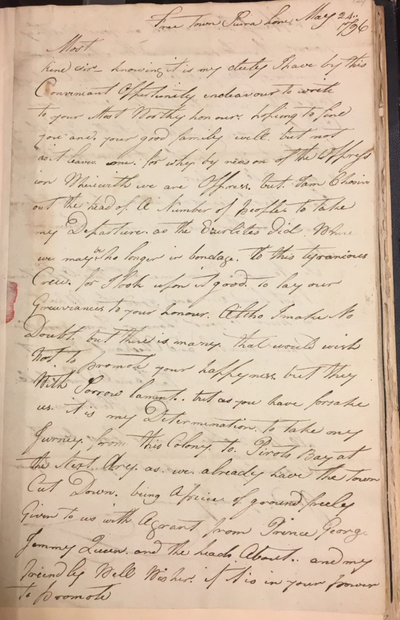 Letter to John Clarkson from Nathaniel Snowball describing his reasons for leading some settlers out of Freetown to a new settlement at Pirate's Bay  24 May 1796