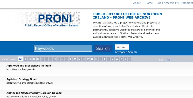 PRONI Web Archive