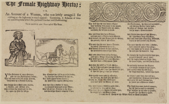 Ballad entitled The Female Highway Hector  with illustrations of her dressed as a woman and as a man holding the reins of a horse.