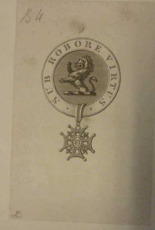 Frederick Cosens' bookplate featuring a lion.