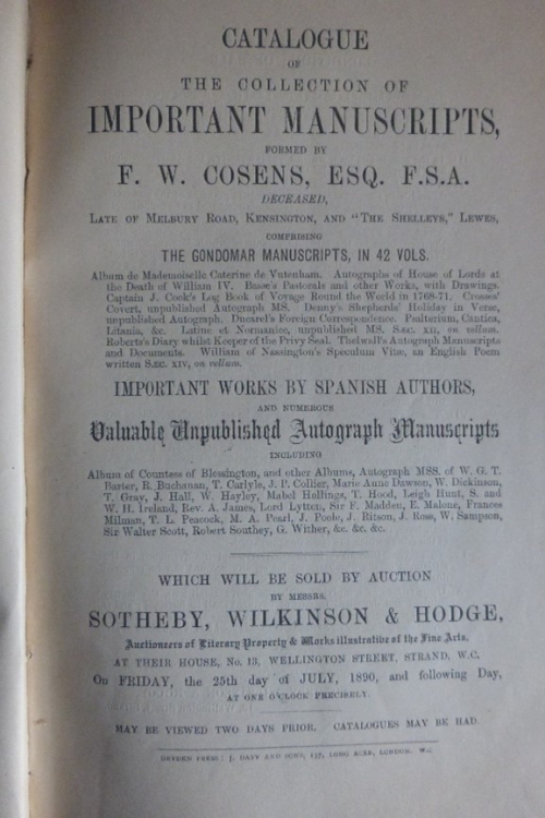 Title page of the Sotheby sale catalogue of Cosens' manuscripts