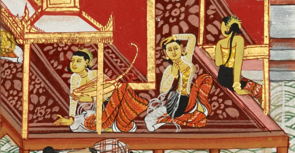 Women of the court, including a musician holding the Burmese harp or Saung, Mandhātu Jātaka, 19th century. British Library, Or 4542/B, f.57r