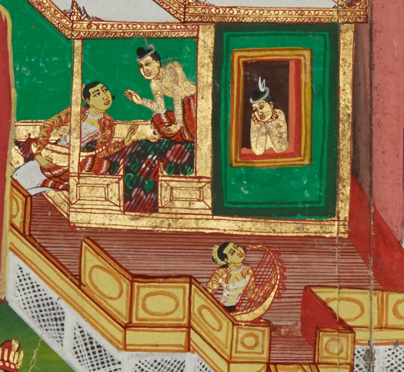 The Bodhisatta hears beautiful music through his window, and slowly falls in love with the harpist. Culla Palobhana Jātaka, 19th century. British Library, Or 4542/B, f. 89r