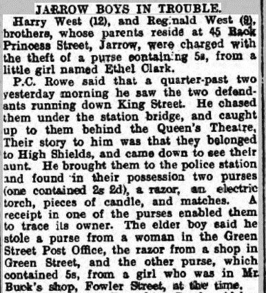 Newspaper report of Harry and Reginald West being charged with theft  -  Shields Daily News 24 February 1917