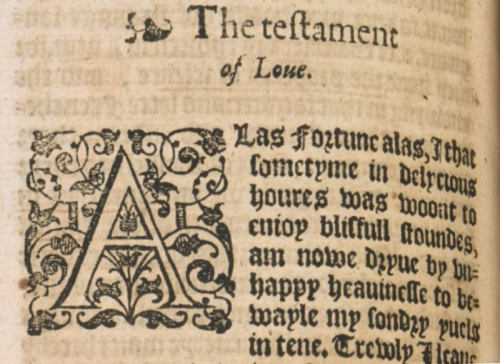 The opening of Thomas Usk's Testament of Love, printed in black ink in 1598.